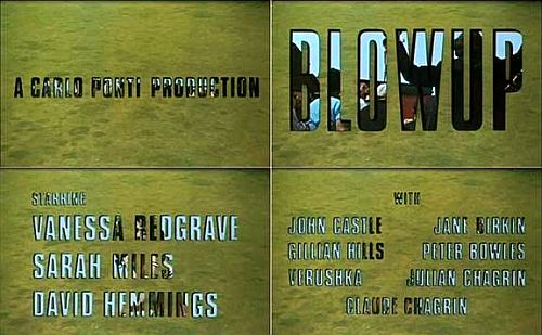"Live action ""held""within the outlined typography in Blow Up (1969)"