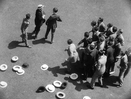 Part of the bravura 'hats off' sequence that Welles shot from overhead angles.
