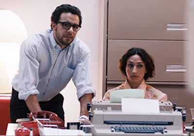 """""""We do see a woman at a typewriter being supervised by Bill Fernandez (Victor Rasuk), a recognizable low-level employee."""""""
