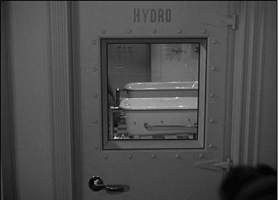 """The entrance to the """"HYDRO"""" [hydrotherapy] room at Chumley's Rest."""