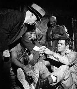 Dwan directing Robert Ryan in Escape to Burma