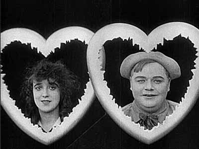 Normand and Arbuckle in the opening title sequence of Fatty and Mabel Adrift