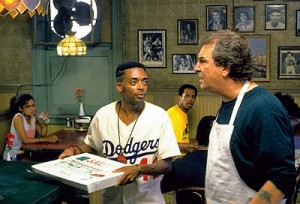 Spike Lee as Mookie and Danny Aiello as Sal in the pizzeria