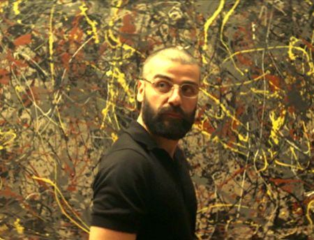 Human disorder in all its glory: Nathan admires a Jackson Pollock painting