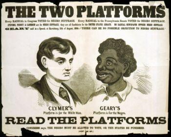 White supremacist campaign poster, 1866