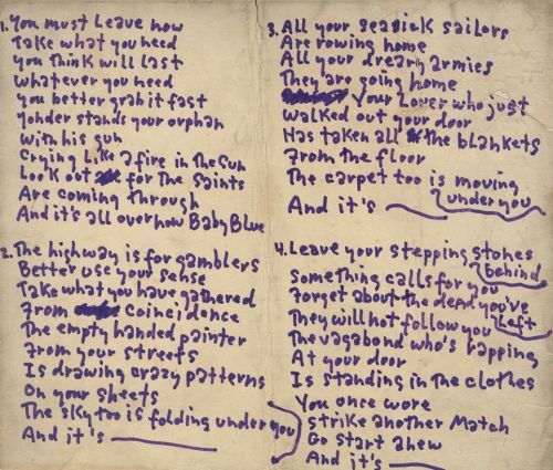 "Original lyric sheet for ""It's All Over Now, Baby Blue"""