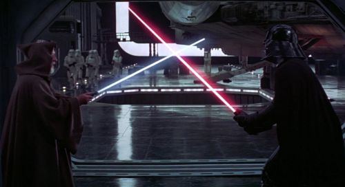 Darth Vader faces Obi-Wan Kenobi in A New Hope