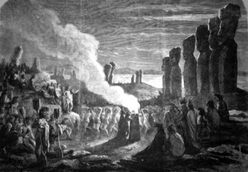 Engraving made from a sketch of Easter Island by French sailor Pierre Loti (Paris, 1872) showing European armed forces overseeing the famous statues being brought down before a crowd of frenzied natives.