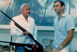 Bond and Blofeld on the set of Goldfinger