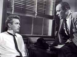 James Dean and Ed Platt in Rebel Without a Cause