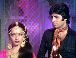 Rekha and Amitabh Bachchan in Muqaddar Ka Sikandar, 1978