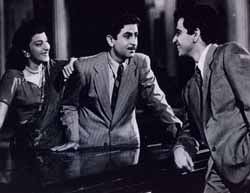 Nargis, Raj Kapoor and Dilip Kumar in Andaz, 1949