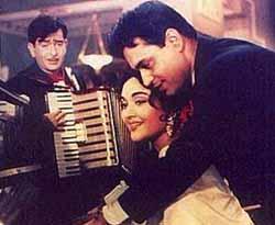 Raj Kapoor, Vyjayanthimala and Rajendra Kumar in Sangam, 1964