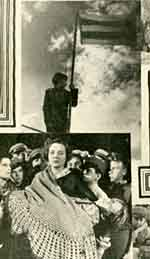 Figure 5: Promotional stills present a mixed message in a collage detail from Photoplay edition of Molnar's novel. Above: Nemecsek has no regrets giving his one life for his country. Below: Nemecsek's mother (Lois Wilson) has other thoughts, surrounded by contemplative Feri Ats (Frankie Darro), far left, and Boka, third from right.