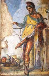 Image of Priapus, from a fresco in Pompeii, circa 65-79 AD