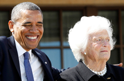 President Obama and Barbara Bush