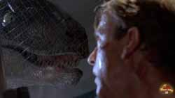 Sam Neill threatened in Jurassic Park