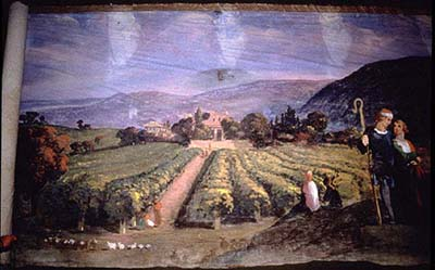 From a Pilgrim's Progress panorama, painted 1850-51: 'They Arrive at the Delectable Mountains.' Design attributed to Joseph Kyle and Edward Harrison May, York Institute Museum, Saco, Maine.