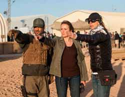Kathryn Bigelow (right) during the filming of Zero Dark Thirty