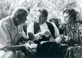 Huston, Finney, and Jacqueline Bisset on the set of Under the Volcano