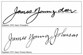 Signatures of Young Deer (1930) and Johnson (1931). Picture courtesy of Joseph A. Romeo.