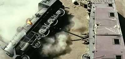 Train crash in The Lone Ranger