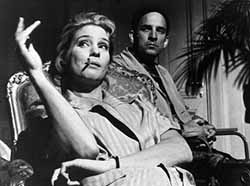 Bergman and Ingrid Thulin as Ester on the set of The Silence
