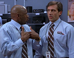 Steve Carrel (right) in The 40-Year-Old Virgin